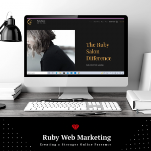 Web Design Services - Lap top showing web design created by Ruby Web Marketing